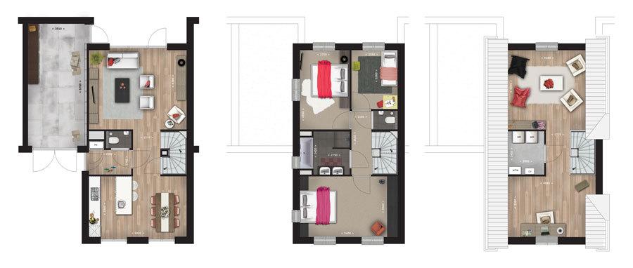 Standaard Keuken Nieuwbouw : Zeer ruime zolder, ca. 32,5 m?, standaard aan de voor- en achterzijde